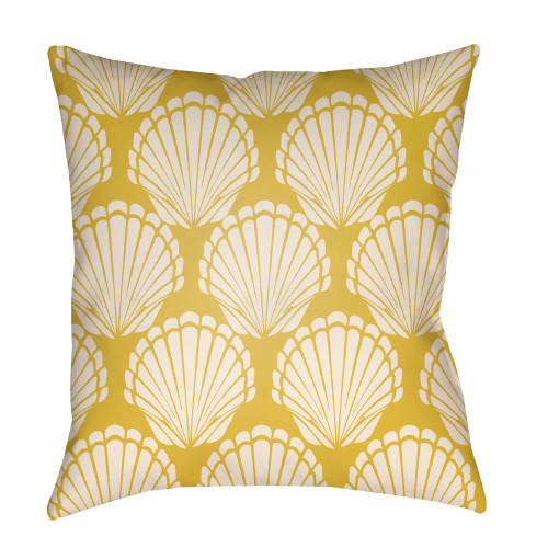 """20"""" Yellow and Beige Seashell Printed Square Throw Pillow Cover - IMAGE 1"""