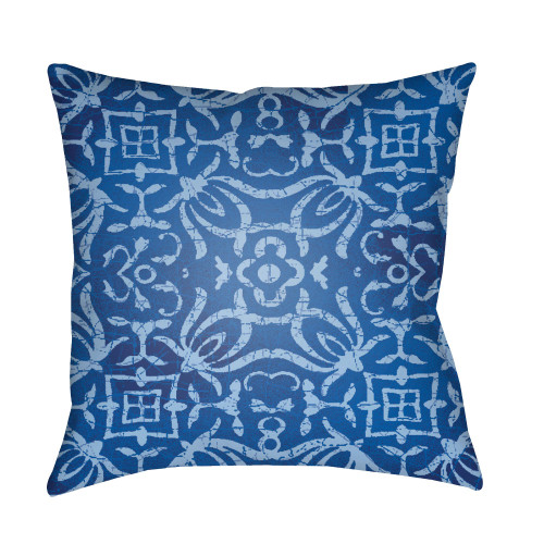 """20"""" Blue Botanical Motifs Printed Square Throw Pillow Cover with Knife Edge - IMAGE 1"""