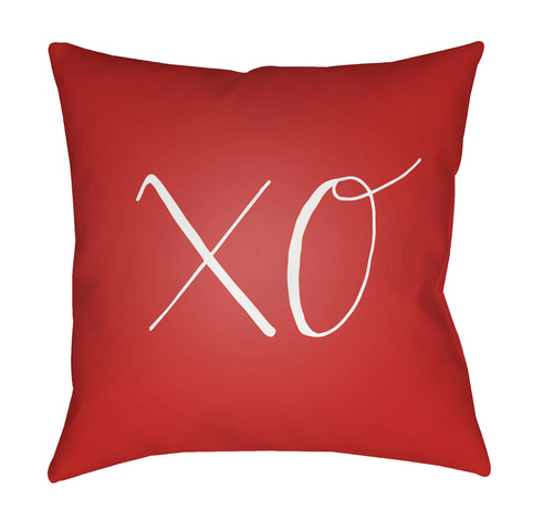 """20"""" Red and White """"XO"""" Printed Square Throw Pillow Cover with Knife Edge - IMAGE 1"""