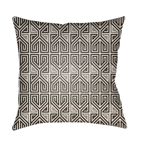 """22"""" Black and Gray Geometric Square Outdoor Throw Pillow Cover - IMAGE 1"""