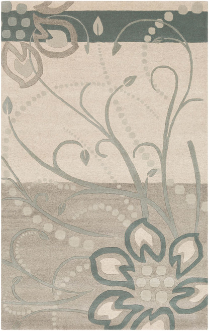 8' x 11' Floral Design Gray and Beige Hand Tufted Rectangular Area Throw Rug - IMAGE 1