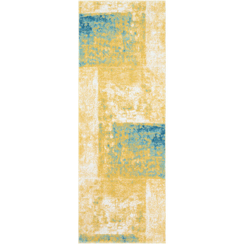 2.5' x 7.25' Abstract Yellow and Blue Rectangular Area Throw Rug Runner - IMAGE 1