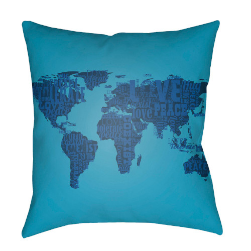 """20"""" Teal Blue World Map Printed Square Throw Pillow Cover - IMAGE 1"""
