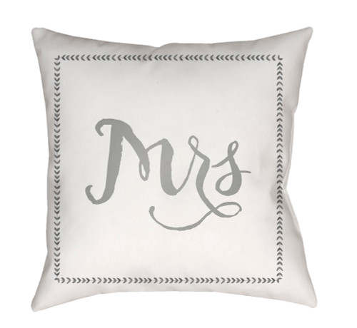 "20"" White and Gray ""Mrs"" Printed Square Throw Pillow Cover with Knife Edge - IMAGE 1"