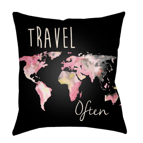 """20"""" Pink and White World Map Printed Square Throw Pillow Cover - IMAGE 1"""