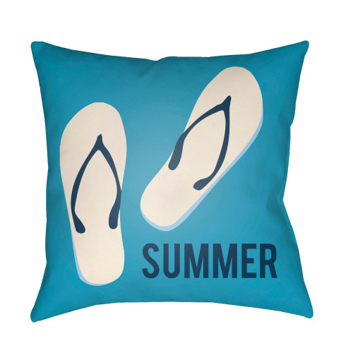 """20"""" Teal Blue and White """"SUMMER"""" Printed Square Throw Pillow Cover with Knife Edge - IMAGE 1"""