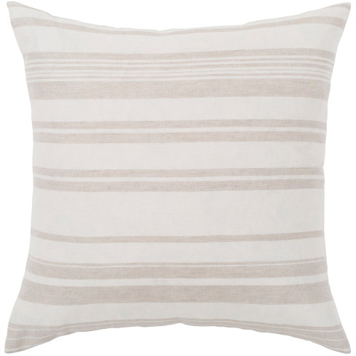 """18"""" Ivory and Beige Striped Pattern Woven Square Throw Pillow - Polyester - IMAGE 1"""
