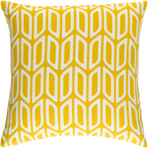 "18"" Yellow and Cream Screen Printed Square Woven Throw Pillow Cover with Knife Edge - IMAGE 1"