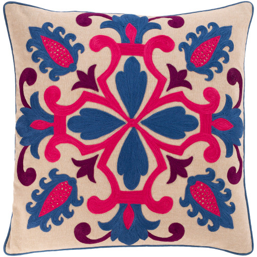 """18"""" Blue and Pink Embroidery Square Throw Pillow - Down Filler - IMAGE 1"""