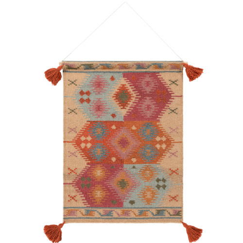 """36"""" Brown and Orange Southwestern Design Hand Woven Wall Hanging - IMAGE 1"""