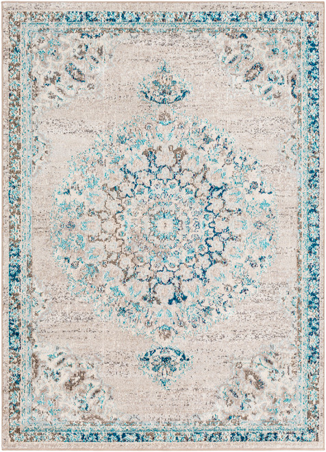 2' x 3' Gray and Pale Blue Rectangular Area Throw Rug - IMAGE 1