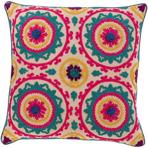 """18"""" Pink and Green Embroidery Square Throw Pillow - Down Filler - IMAGE 1"""