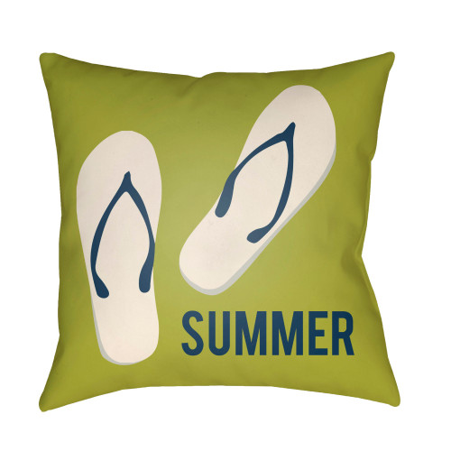 """18"""" Green and White """"SUMMER"""" Printed Square Throw Pillow Cover with Knife Edge - IMAGE 1"""