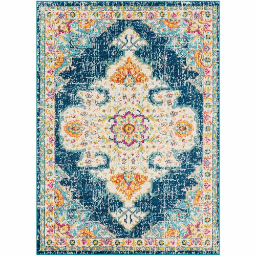 2' x 3' Blue and Beige Distressed Finish Area Throw Rug - IMAGE 1