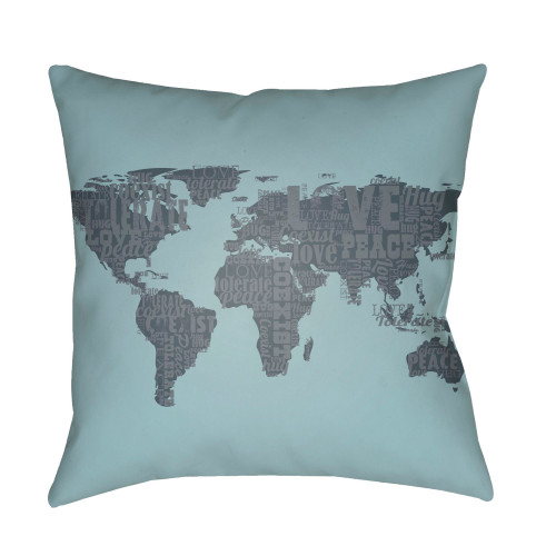 """20"""" Pale Blue and Gray World Map Square Throw Pillow Cover with Knife Edge - IMAGE 1"""
