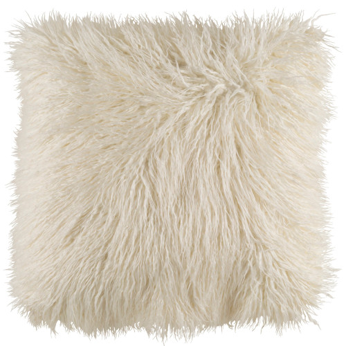 """20"""" White Faux Fur Square Throw Pillow Cover - IMAGE 1"""