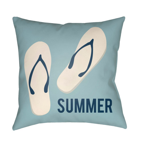 "20"" Pale Blue and White ""SUMMER"" Printed Square Throw Pillow Cover with Knife Edge - IMAGE 1"