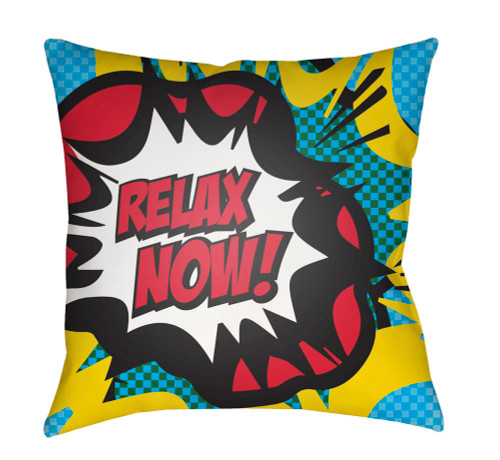 "20"" Yellow and Red ""RELAX NOW!"" Square Throw Pillow Cover - IMAGE 1"