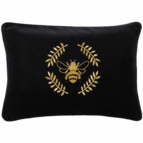 """20"""" Black and Gold Colored Rectangular Throw Pillow Cover - IMAGE 1"""
