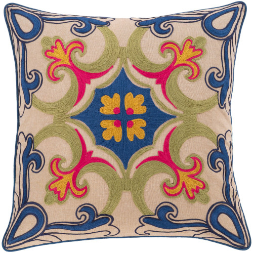 """18"""" Blue and Green Embroidery Square Throw Pillow - Down Filler - IMAGE 1"""