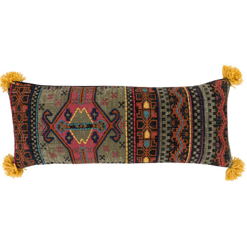 """30"""" Dark Green Ethnic Design Rectangular Embroidered Throw Pillow Cover - IMAGE 1"""