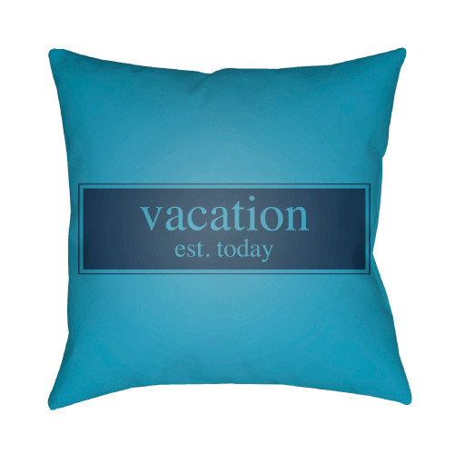 """18"""" Blue Vacation Typography Square Throw Pillow Cover - IMAGE 1"""
