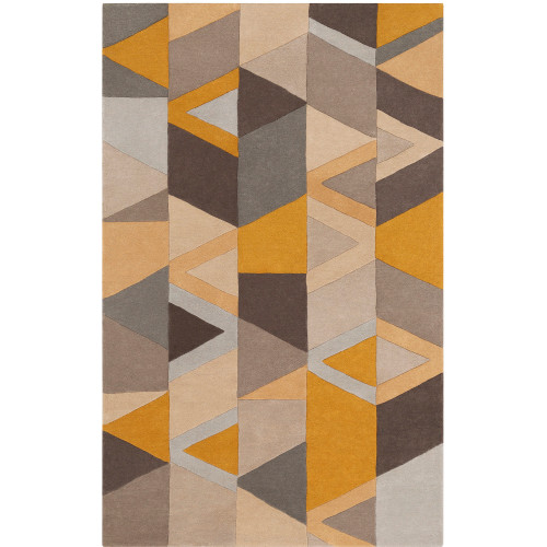 5' x 8' Geometric Triangular Pattern Yellow and Brown Rectangular Hand Tufted Wool Area Throw Rug - IMAGE 1