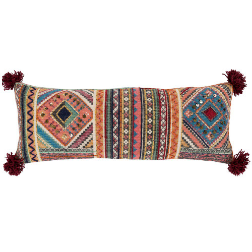 """30"""" Multi-Color Ethnic Design Rectangular Embroidered Throw Pillow Cover - IMAGE 1"""