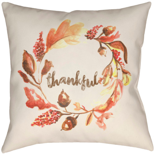 """22"""" Bright Red and Burnt Orange """"Thankful"""" Square Throw Pillow Cover - IMAGE 1"""