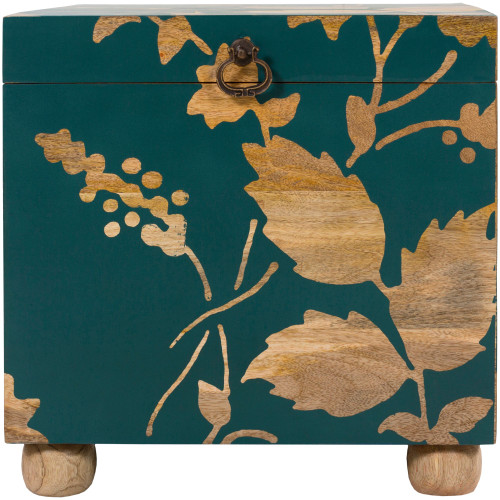"""16"""" Green and Brown Tropical Designed Storage Cube Accent Furniture - IMAGE 1"""
