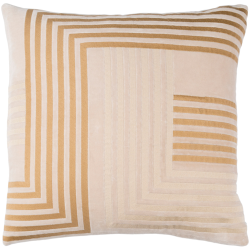 """18"""" Ivory with Beige and Brown Line Pattern Throw Pillow Cover - IMAGE 1"""