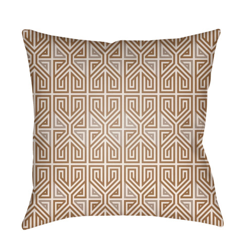 """22"""" Brown and Gray Geometric Square Outdoor Throw Pillow Cover - IMAGE 1"""
