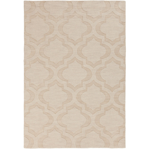 2' x 3' Moroccan Patterned Beige Rectangular Wool Area Rug - IMAGE 1