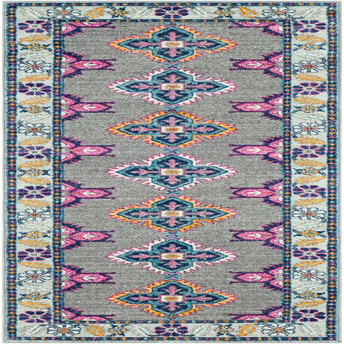 2.5' x 7.25' Floral Patterned Orange and Pink Rectangular Area Throw Rug Runner - IMAGE 1