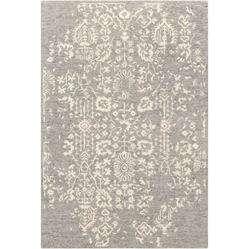 9' x 12' Floral Gray and Beige Rectangular Area Throw Rug - IMAGE 1