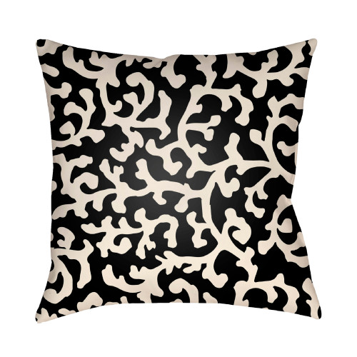 18'' Black and Ivory Digitally Printed Coral Reefs Pattern Square Throw Pillow Cover - IMAGE 1
