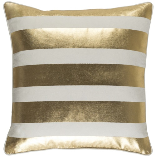 """18"""" Metallic Gold and Beige Foil Printed Stripe Design Square Throw Pillow Cover - IMAGE 1"""