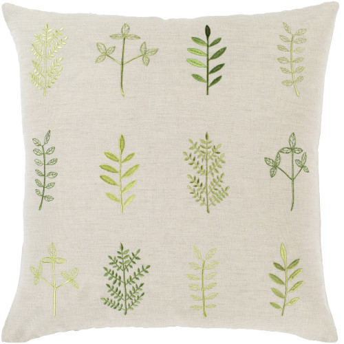 """18"""" Beige and Green Leaf Embroidered Throw Pillow Cover with Knife Edge - IMAGE 1"""