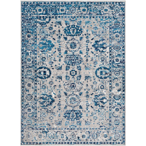 9.1' x 12' Navy Blue and Gray Traditional Style Rectangular Area Throw Rug - IMAGE 1