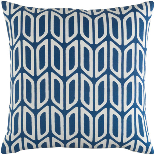 "18"" Dark Blue and Cream Screen Printed Square Woven Throw Pillow Cover with Knife Edge - IMAGE 1"