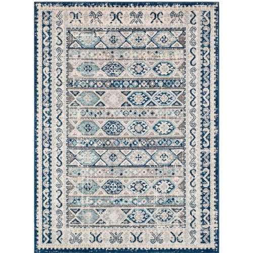 "5'3"" x 7'3"" Oriental Design Blue and Gray Rectangular Machine Woven Area Rug - IMAGE 1"