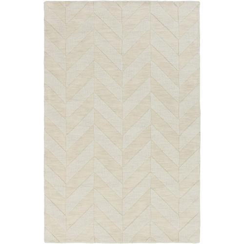 2' x 3' Reversible Pattern Beige Rectangular Wool Area Rug - IMAGE 1