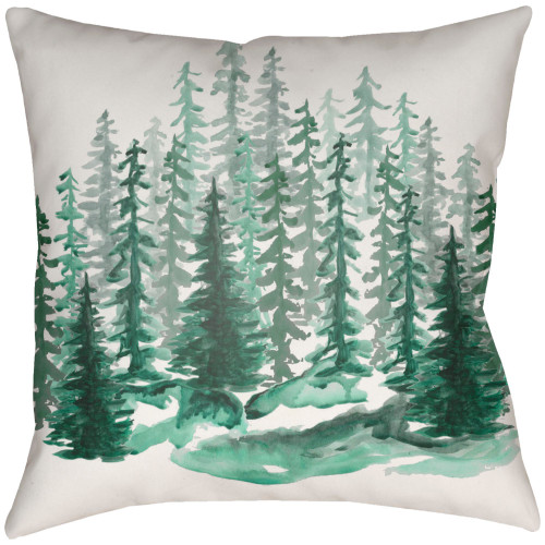 """22"""" Beige and Green Tree Printed Square Throw Pillow Cover - IMAGE 1"""