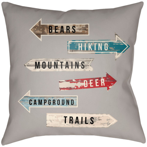"""22"""" Gray and Beige Sign Board Themed Square Throw Pillow Cover - IMAGE 1"""