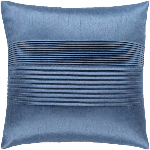 """18"""" Blue Solid Pleated Square Throw Pillow - Poly Filled - IMAGE 1"""