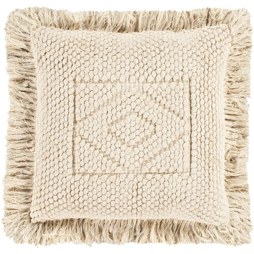 """20"""" Cream Geometric Square Throw Pillow with Knife Edge - Poly Filled - IMAGE 1"""