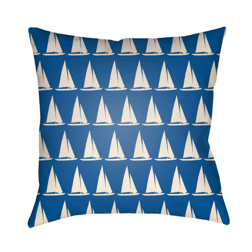 18'' Blue and Ivory Digitally Printed Yacht Pattern Square Throw Pillow Cover - IMAGE 1