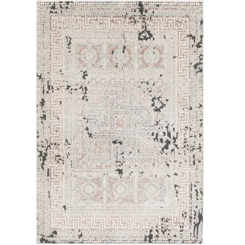 """5'3"""" x 7'3"""" Mosaic Style Red and Beige Rectangular Area Rug - IMAGE 1"""