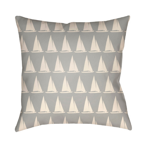 18'' Gray and Ivory Digitally Printed Yacht Pattern Square Throw Pillow Cover - IMAGE 1