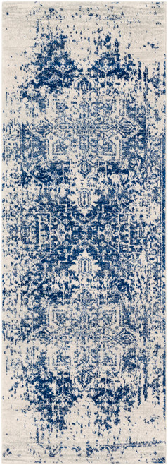 2.5' x 7.25' Traditional Style Navy Blue and Beige Rectangular Area Throw Rug Runner - IMAGE 1